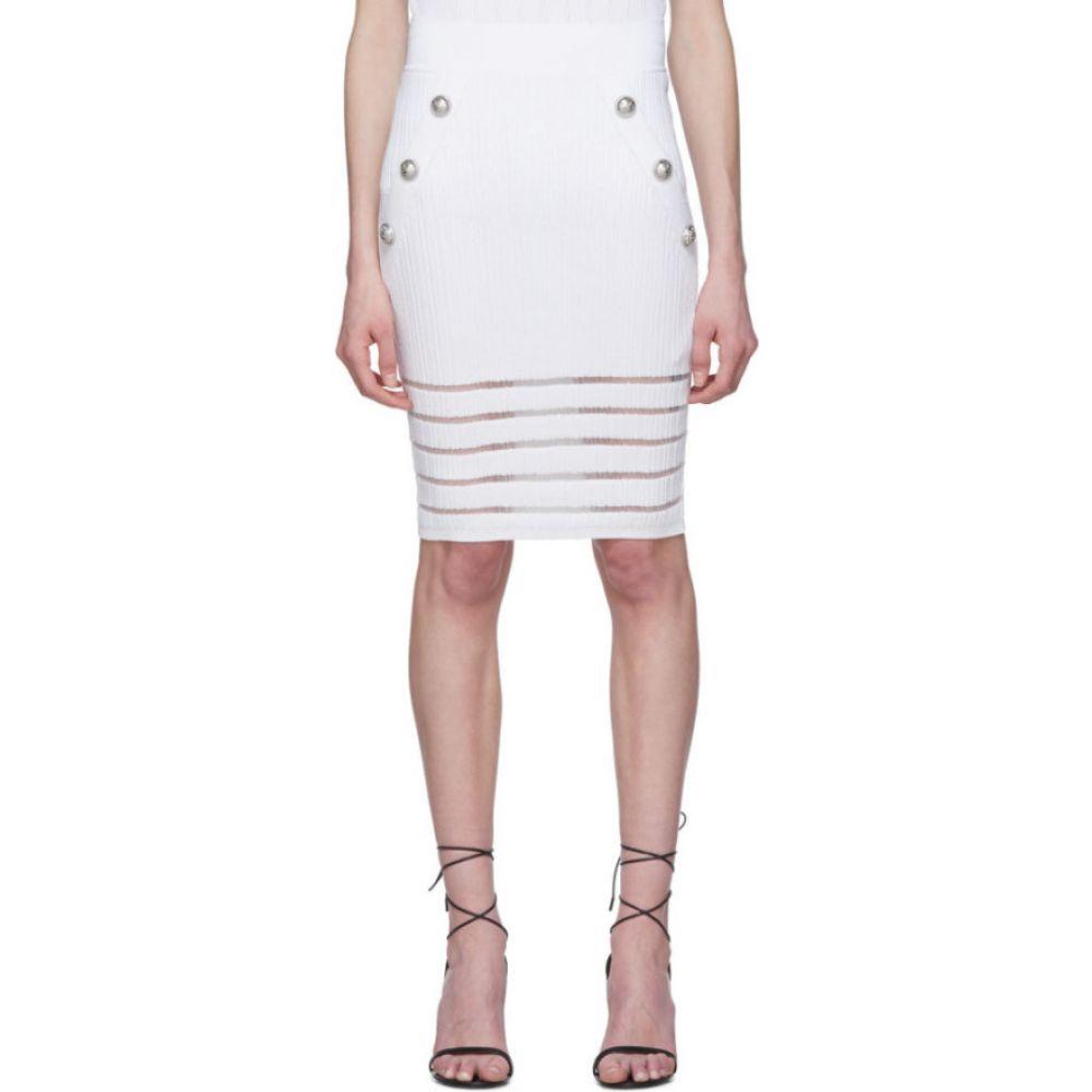 バルマン Balmain レディース ひざ丈スカート スカート【White Open Knit Skirt】White