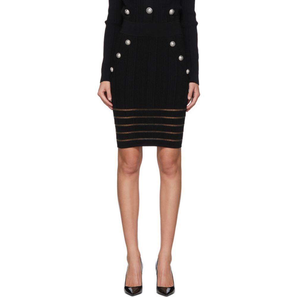 バルマン Balmain レディース ひざ丈スカート スカート【Black Open Knit Skirt】Black