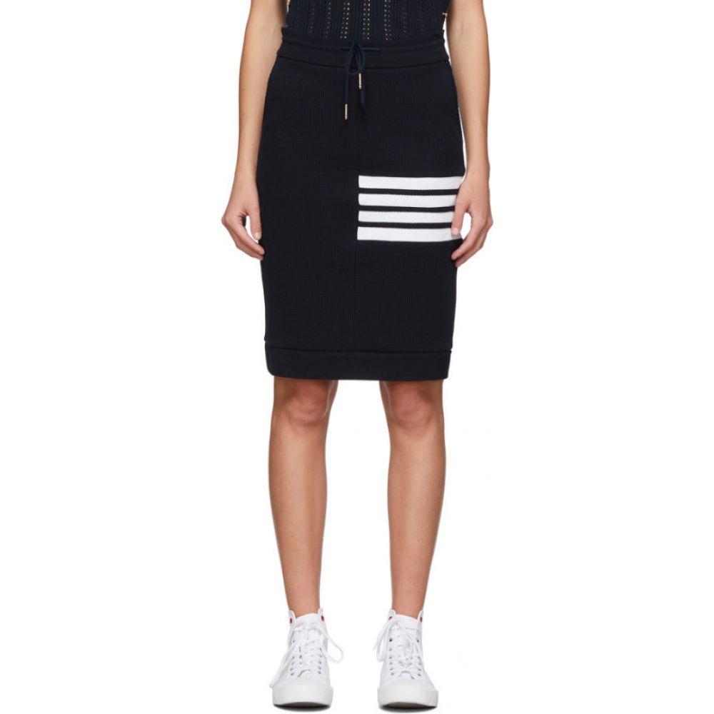 トム ブラウン Thom Browne レディース ひざ丈スカート スカート【Navy 4-Bar Sack Skirt】Navy