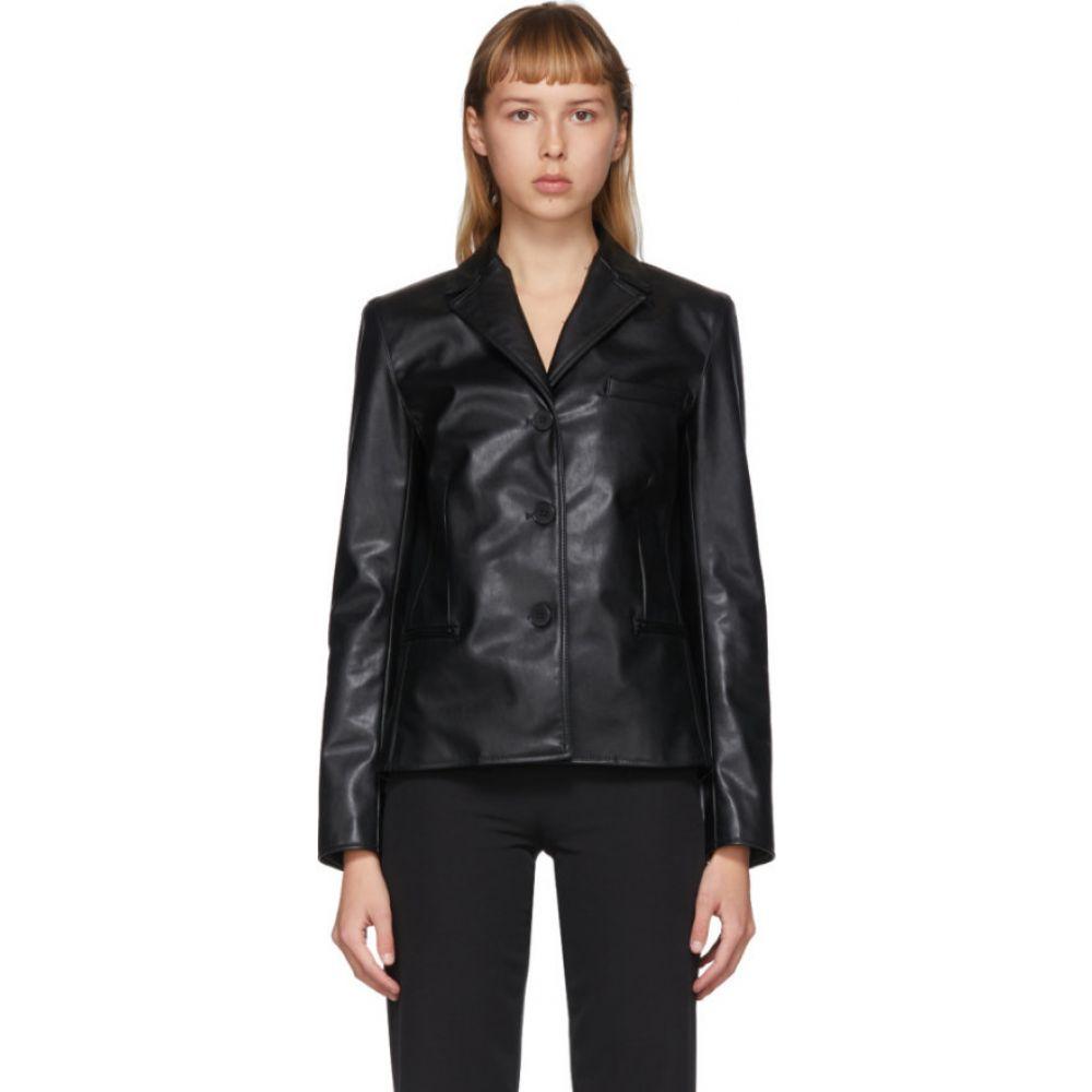 コミッション Commission レディース ジャケット アウター【SSENSE Exclusive Black Faux-Leather Cabin Jacket】Black