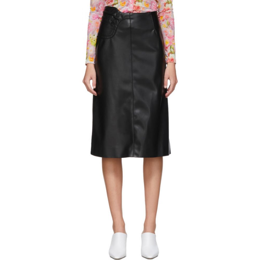 コミッション Commission レディース ひざ丈スカート スカート【SSENSE Exclusive Black Faux-Leather A-Line Skirt】Black