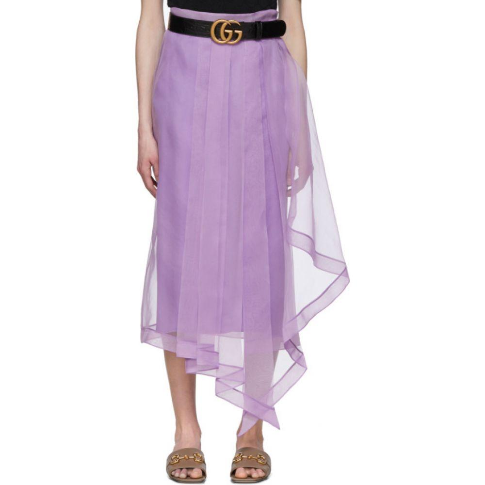 グッチ Gucci レディース ひざ丈スカート スカート【Purple Silk Organdy Skirt】Purple