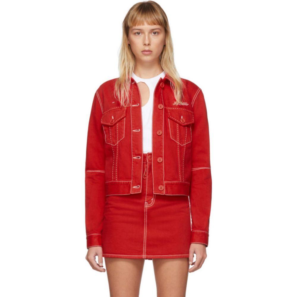 オフホワイト Off-White レディース ジャケット Gジャン アウター【Red Straight Denim Jacket】Red