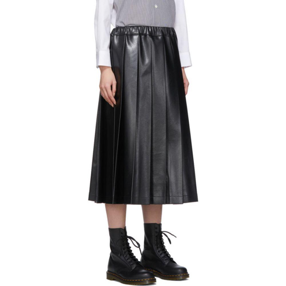 コム デ ギャルソン Tricot Comme des Garcons レディース ひざ丈スカート スカート Black Faux Leather Pleated Skirt BlackuT1JclK3F