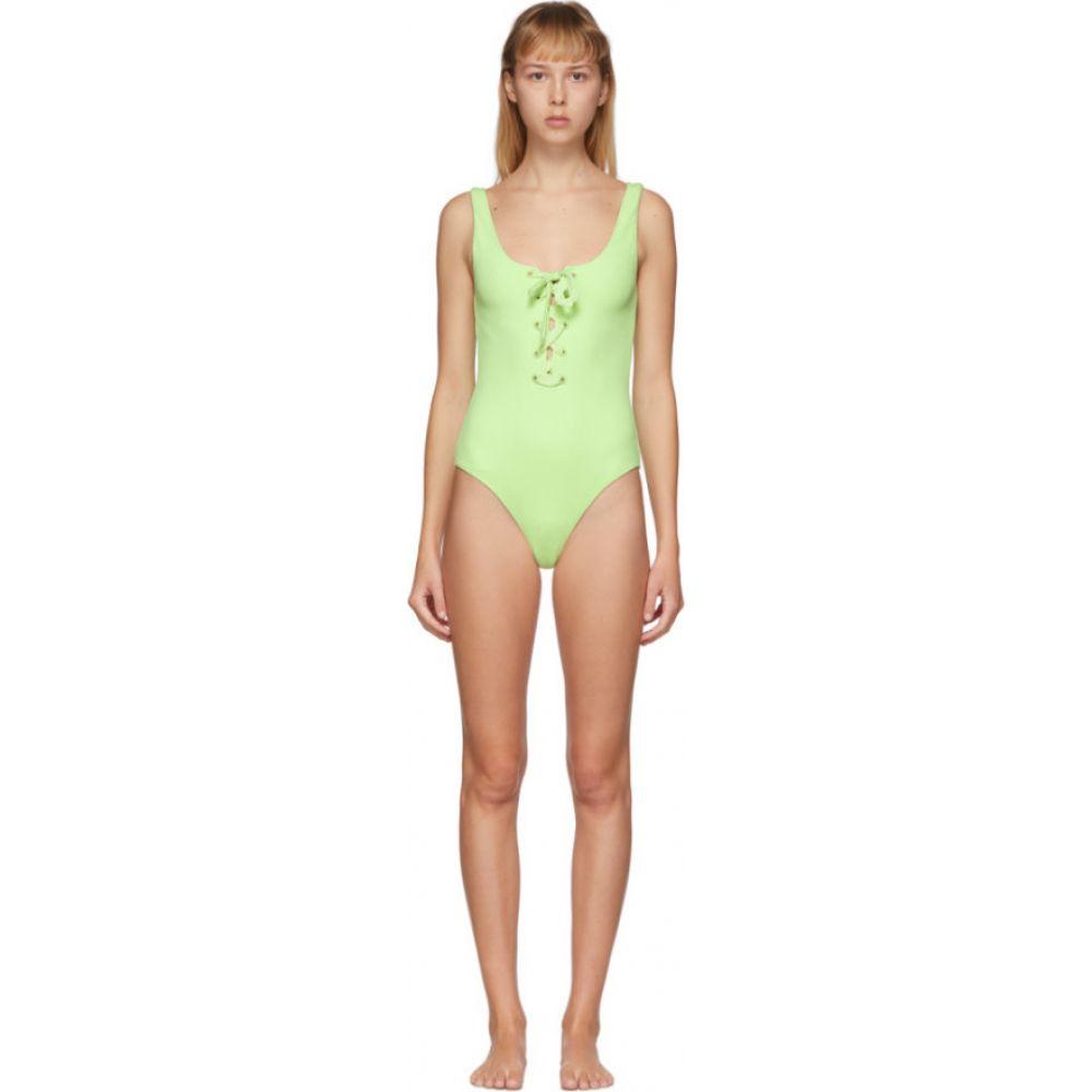 ガニー GANNI レディース ワンピース 水着・ビーチウェア【Green Textured Tie Front One-Piece Swimsuit】Patina