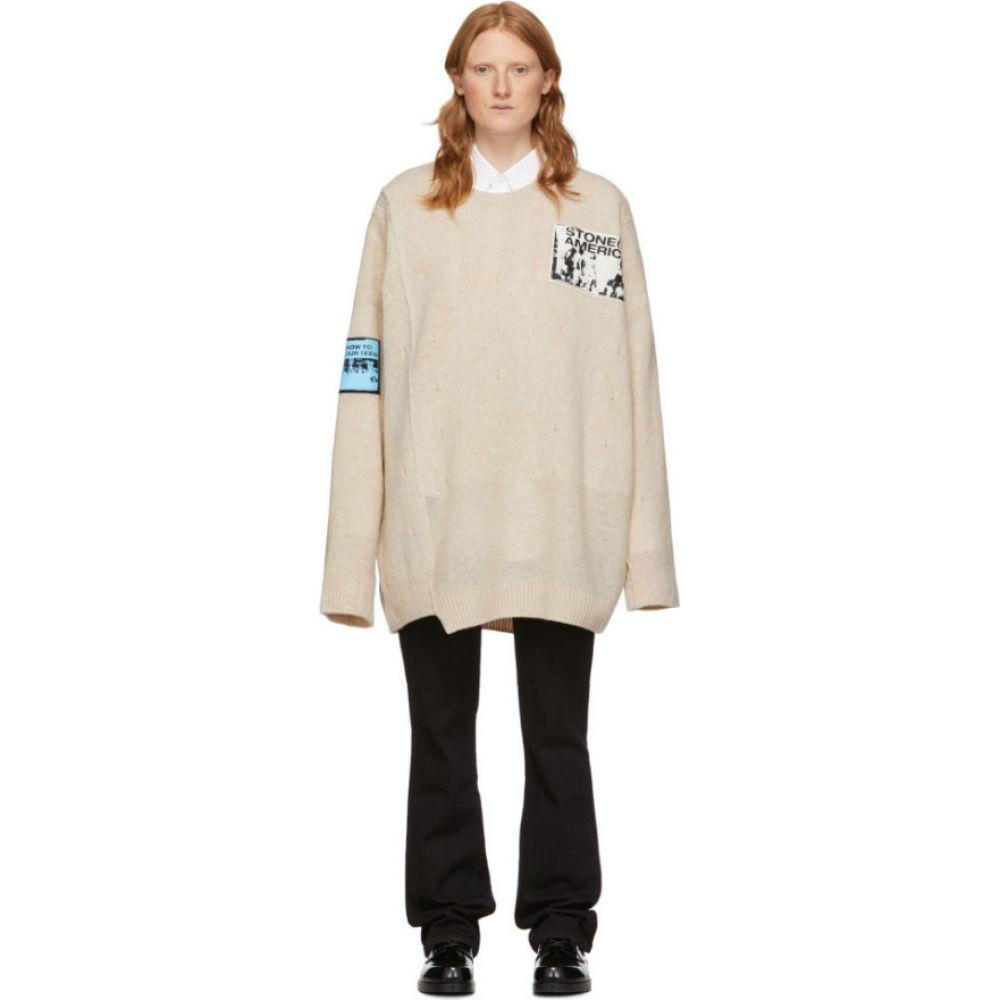 ラフ シモンズ Raf Simons レディース ニット・セーター トップス【Off-White Merino Oversized Patch Sweater】Ecru