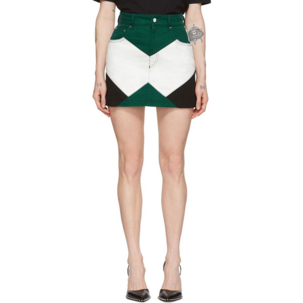 キリン Kirin レディース ミニスカート スカート【Green & White Denim Combo Moto Miniskirt】Forest green