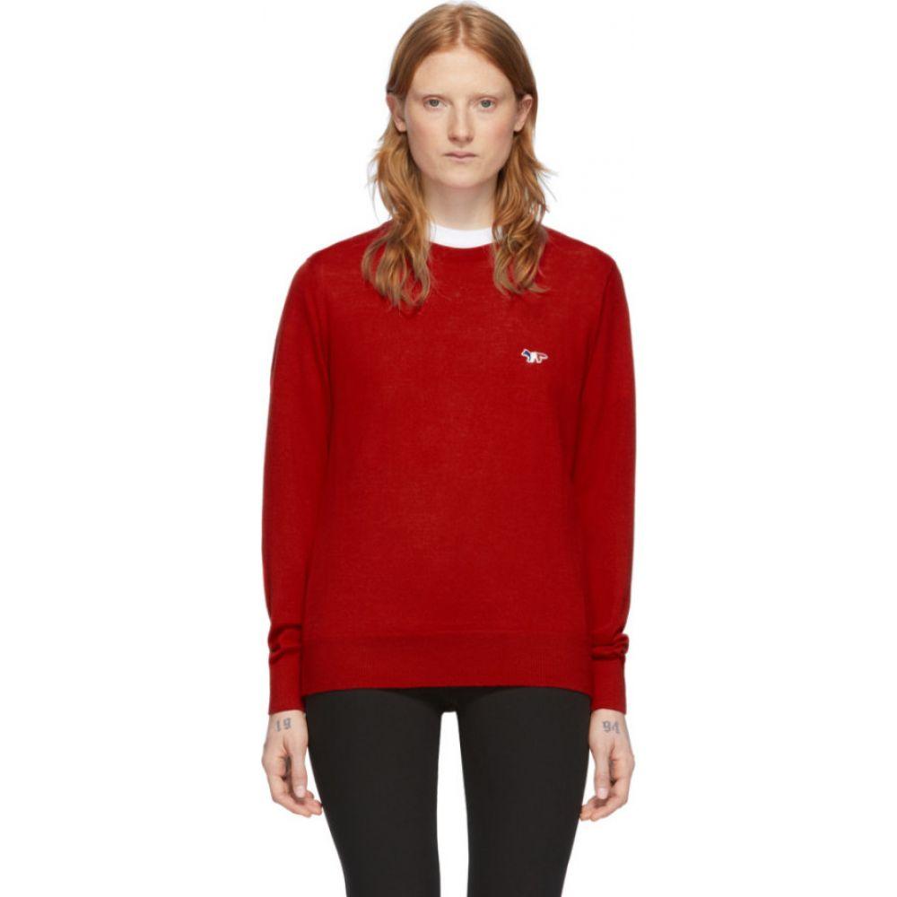 メゾン キツネ Maison Kitsune レディース ニット・セーター トップス【Red Fox Head Crewneck Sweater】Red