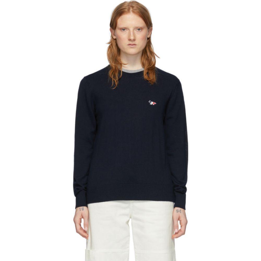 メゾン キツネ Maison Kitsune レディース ニット・セーター トップス【Navy Tricolor Fox Sweater】Navy