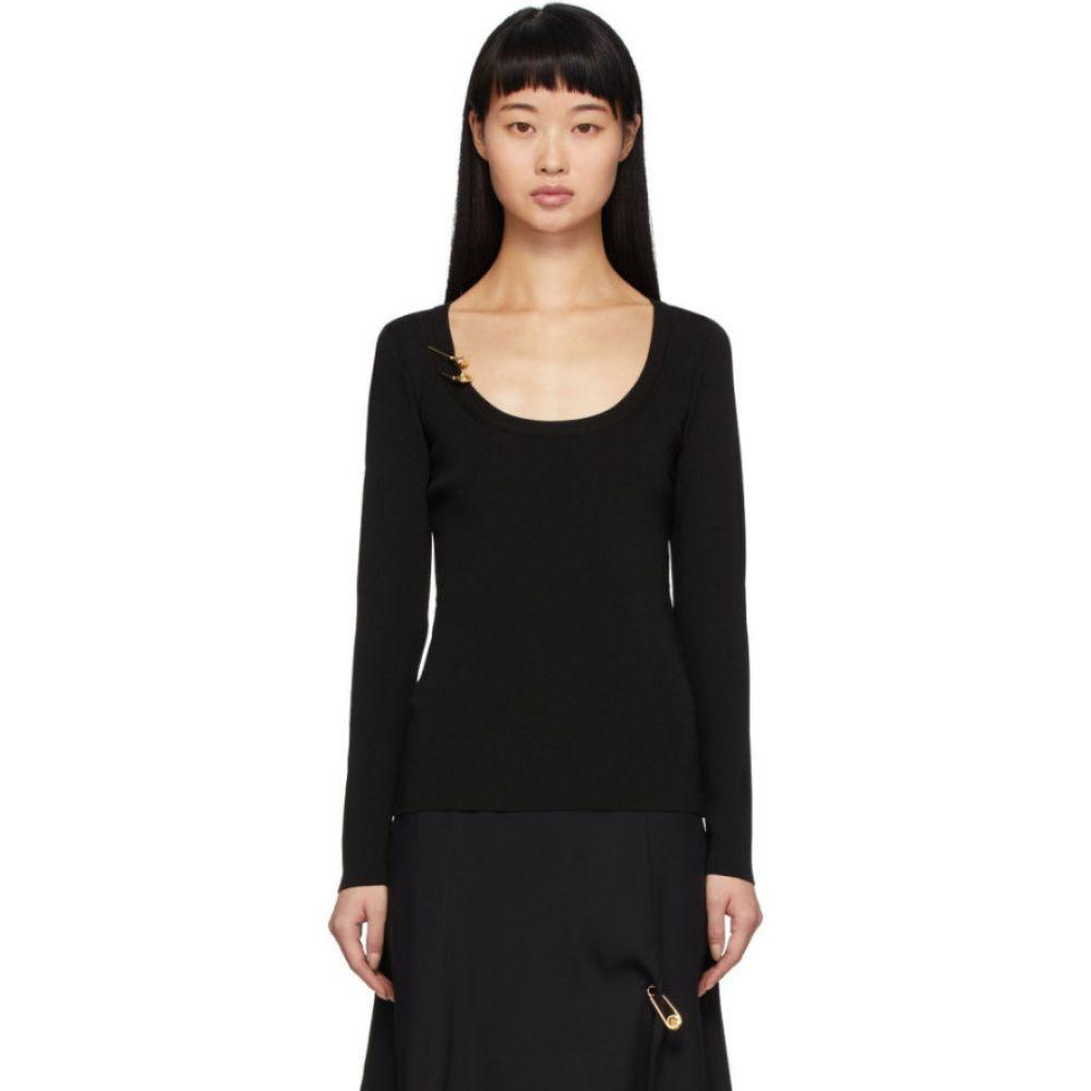 ヴェルサーチ Versace レディース ニット・セーター トップス【Black Knit Safety Pin Pullover】Black