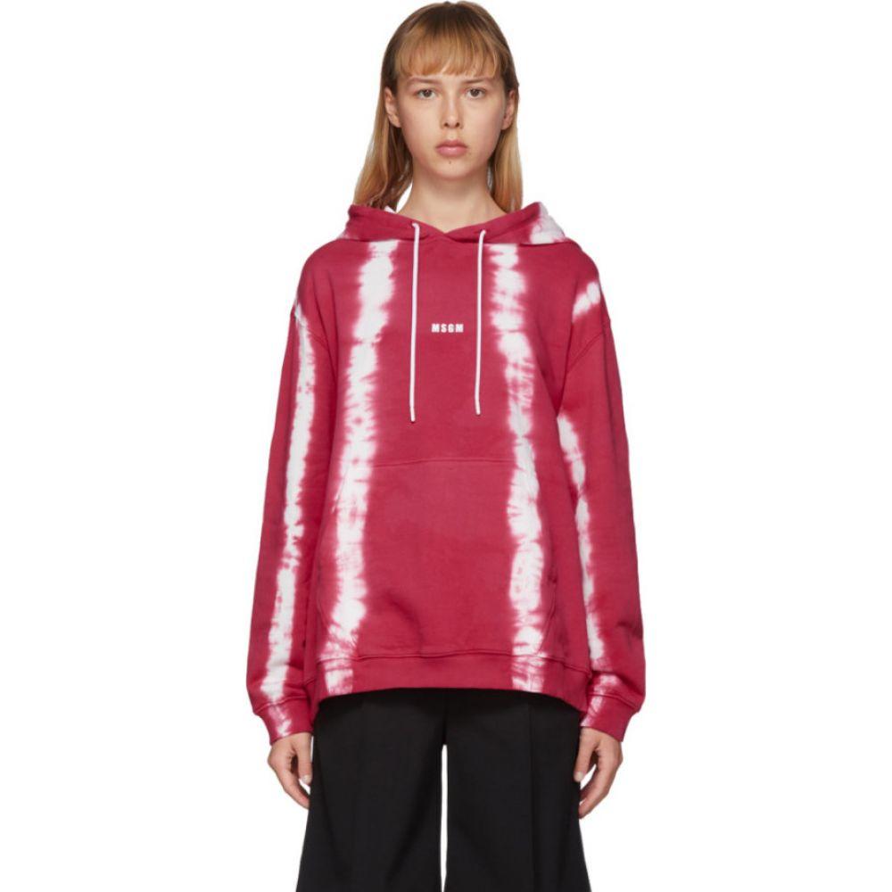 エムエスジーエム MSGM レディース パーカー トップス【Pink Striped Tie-Dye Hoodie】Fuchsia