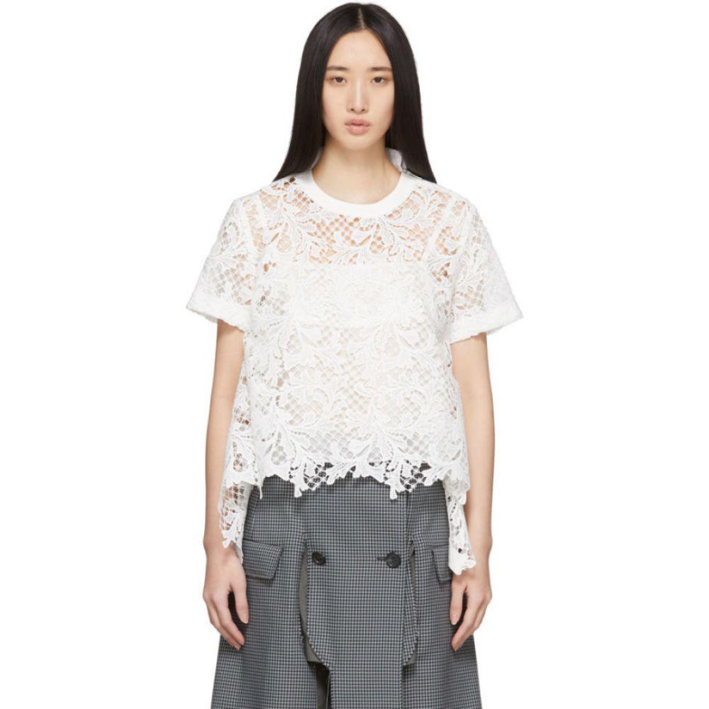 サカイ Sacai レディース ブラウス・シャツ トップス【White Embroidered Lace Top】White