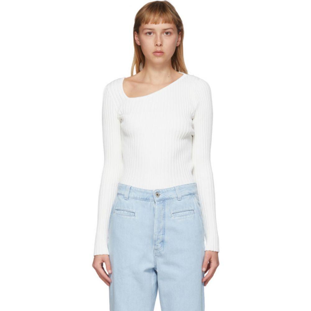 ロエベ Loewe レディース ニット・セーター トップス【White Asymmetric Collar Sweater】White