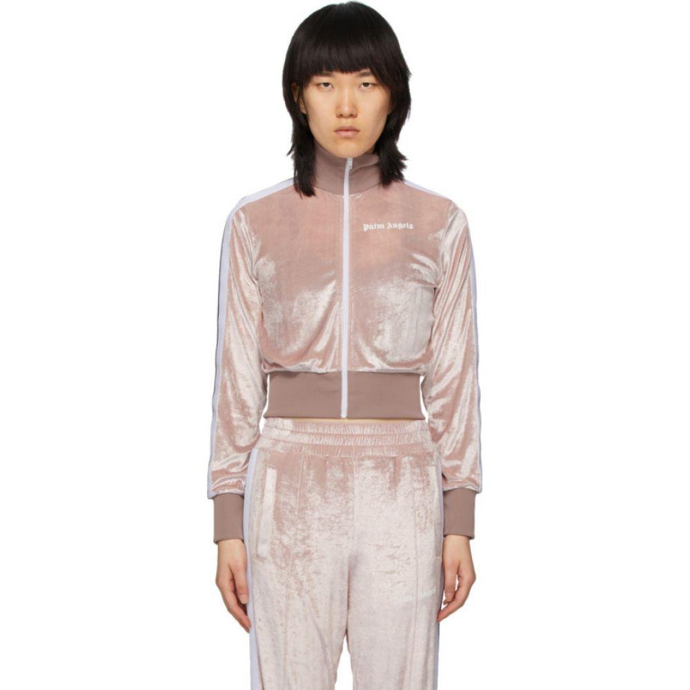 パーム エンジェルス Palm Angels レディース スウェット・トレーナー トップス【Pink Chenille Cropped Zip-Up Sweatshirt】Rose