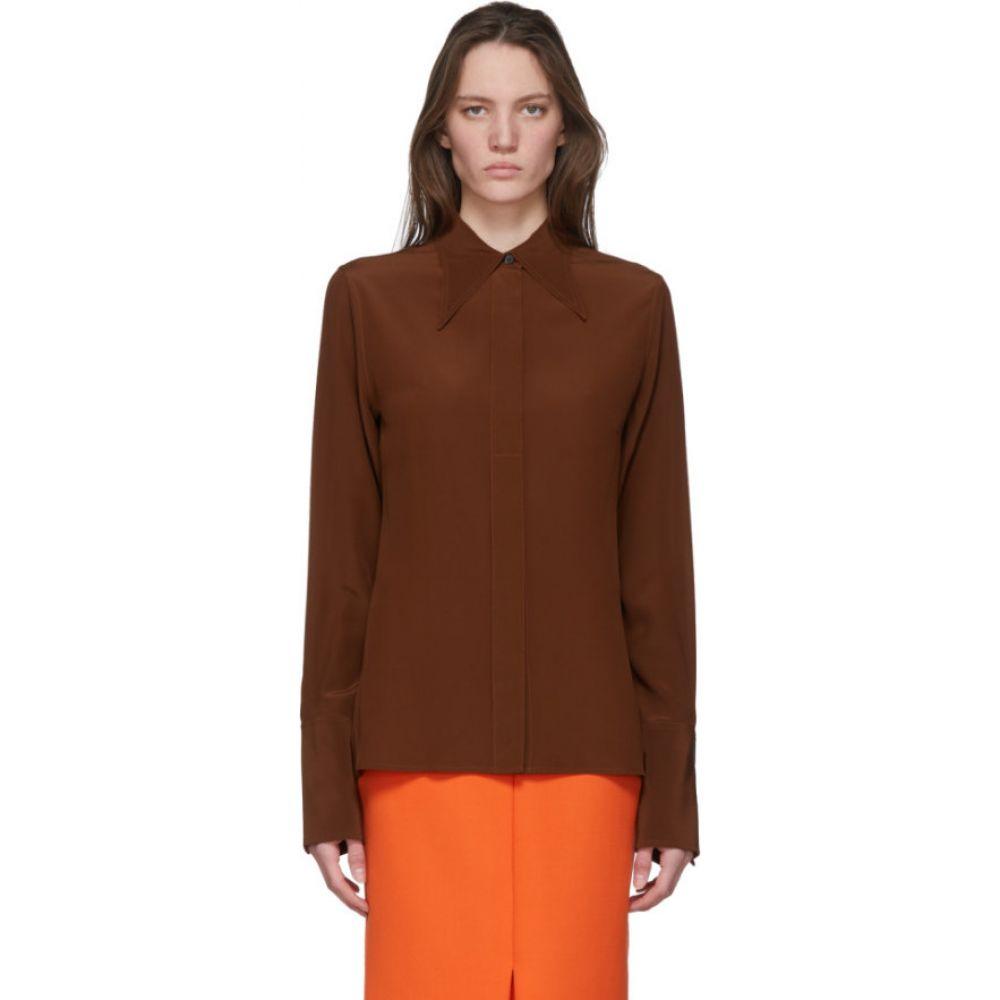 ヴィクトリア ベッカム Victoria Beckham レディース ブラウス・シャツ トップス【Brown Silk 70s Collar Blouse】Chestnut brown