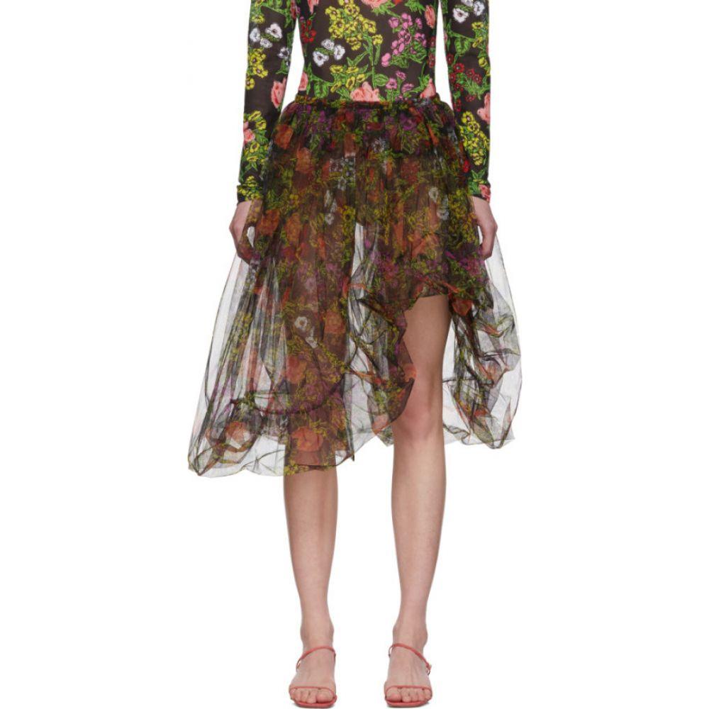 モリー ゴダード Molly Goddard レディース ミニスカート スカート【Black & Multicolor Stevie Apron Skirt】Black flora