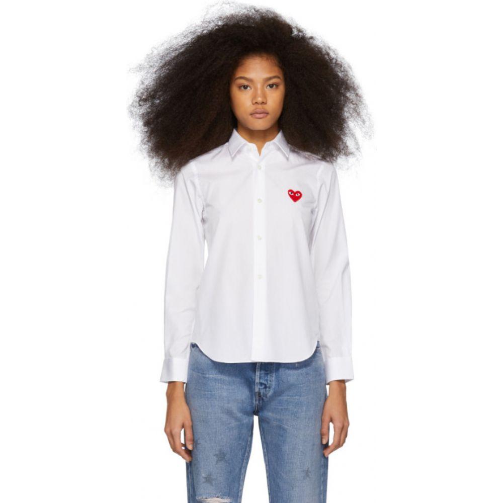 コム デ ギャルソン Comme des Garcons Play レディース ブラウス・シャツ トップス【White & Red Heart Patch Shirt】White
