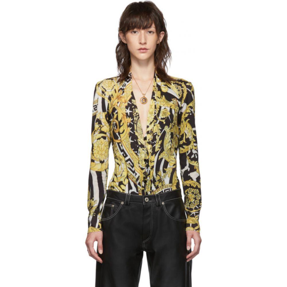 ヴェルサーチ Versace レディース ボディースーツ インナー・下着【Black & Yellow Heritage Stamp Deep-V Bodysuit】Multicolor