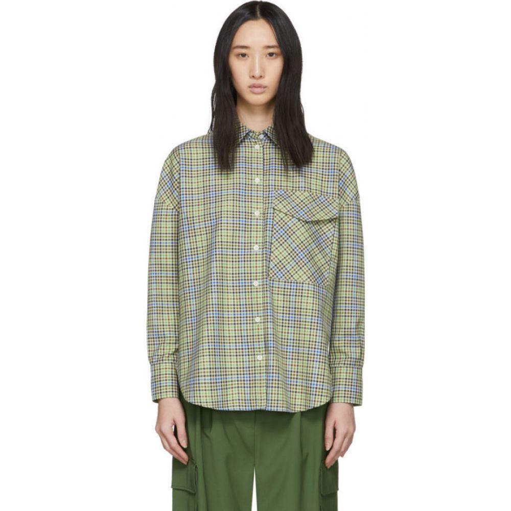 ティビ Tibi レディース ブラウス・シャツ トップス【Green & Beige Recycled Check Relaxed Utility Shirt】Green/Beige