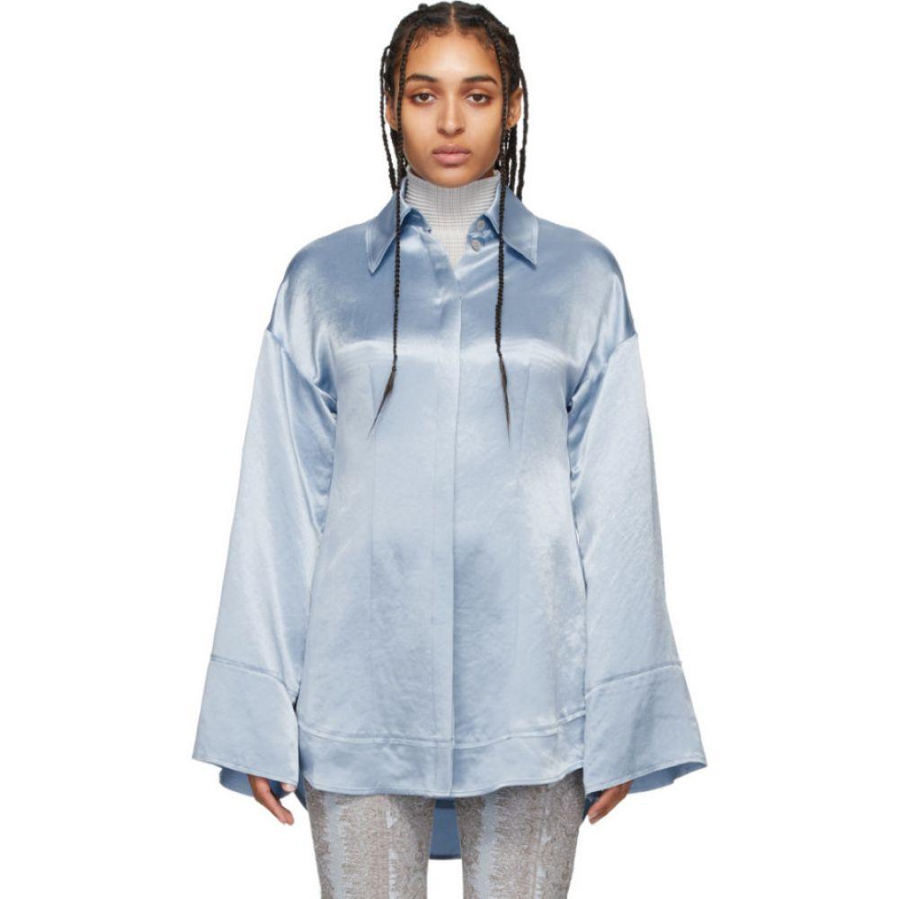 アクネ ストゥディオズ Acne Studios レディース ブラウス・シャツ トップス【Blue Satin Oversized Shirt】Powder blue