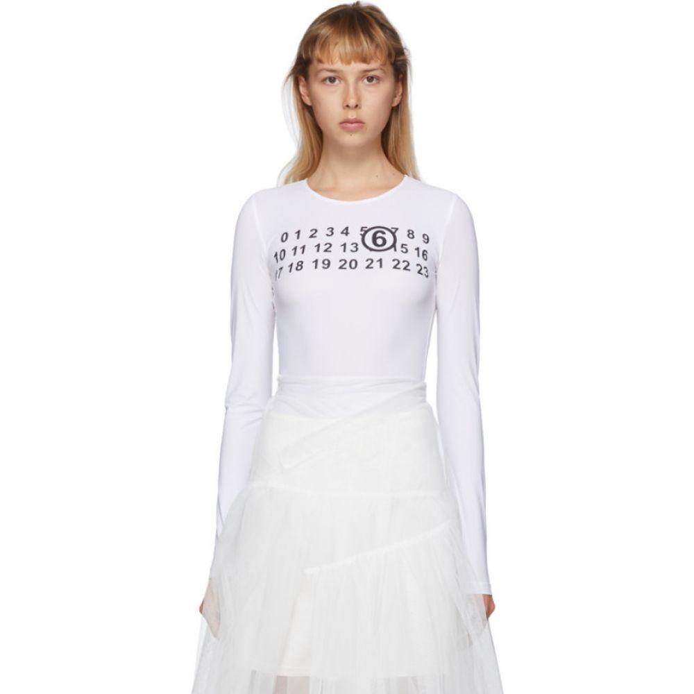 メゾン マルジェラ MM6 Maison Margiela レディース ボディースーツ インナー・下着【White Logo Bodysuit】White