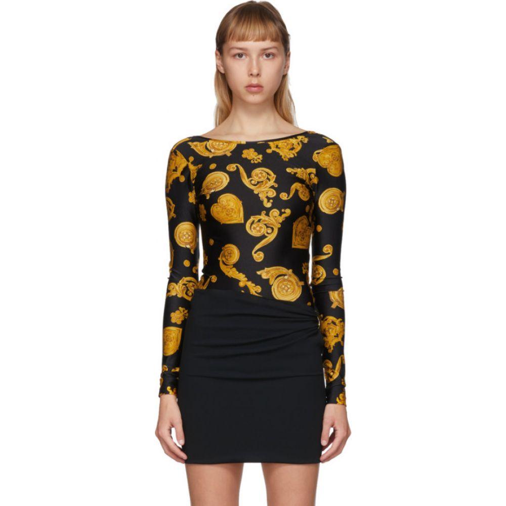 ヴェルサーチ Versace Jeans Couture レディース ボディースーツ インナー・下着【Black Baroque Jewels Bodysuit】Black