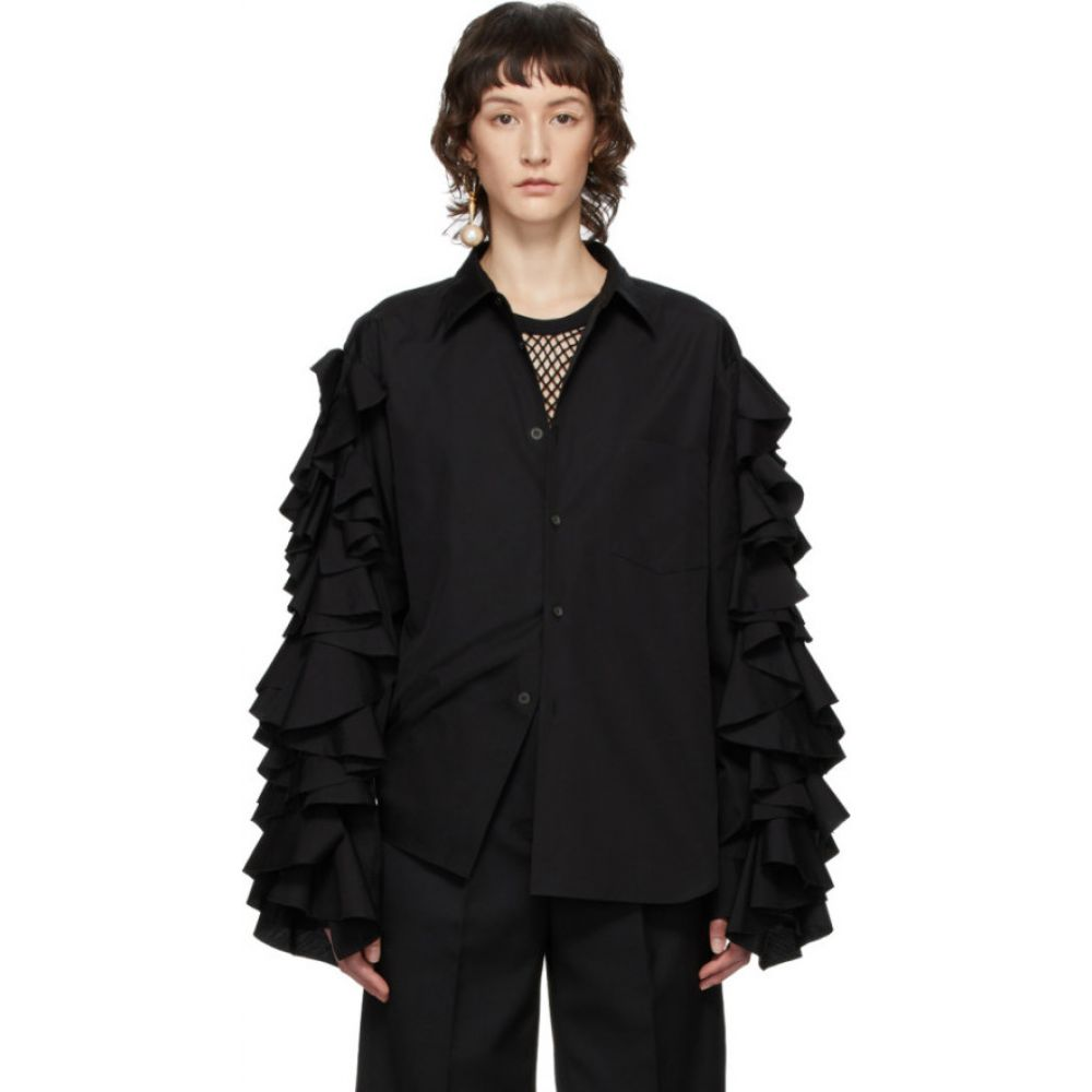 コム デ ギャルソン Comme des Garcons Homme Plus レディース ブラウス・シャツ トップス【Black Ruffle Sleeve Shirt】Black