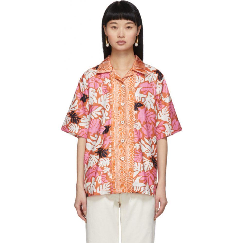 マルニ Marni レディース ブラウス・シャツ トップス【Orange Retro Leaves Shirt】Arabe