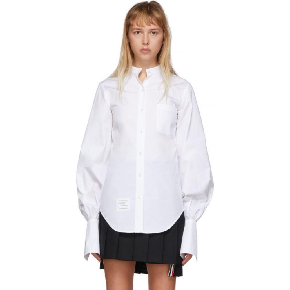 トム ブラウン Thom Browne レディース ブラウス・シャツ トップス【White Gathered Sleeve Shirt】White