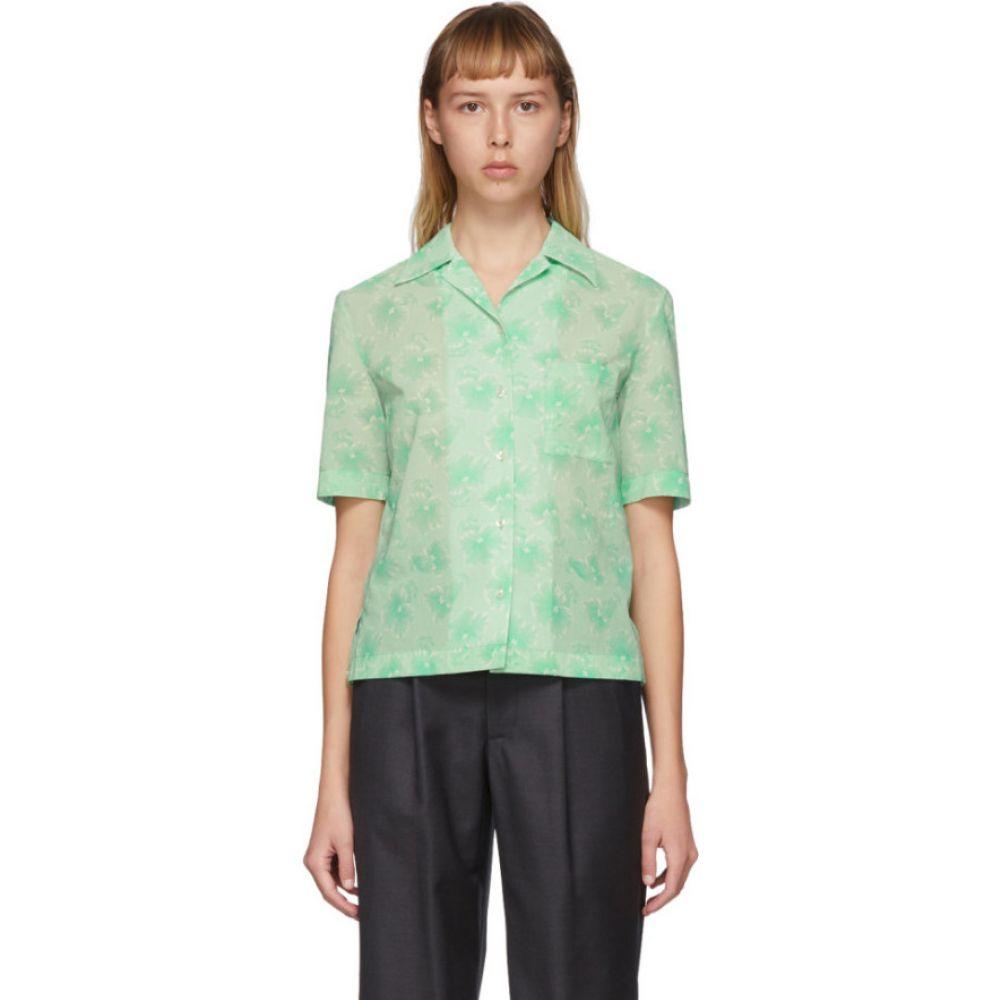 コミッション Commission レディース ブラウス・シャツ トップス【Green Bowling Short Sleeve Shirt】Green hibiscus