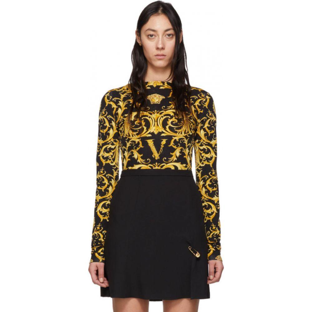 ヴェルサーチ Versace レディース ボディースーツ インナー・下着【Black & Yellow Wester Barocco Bodysuit】Black