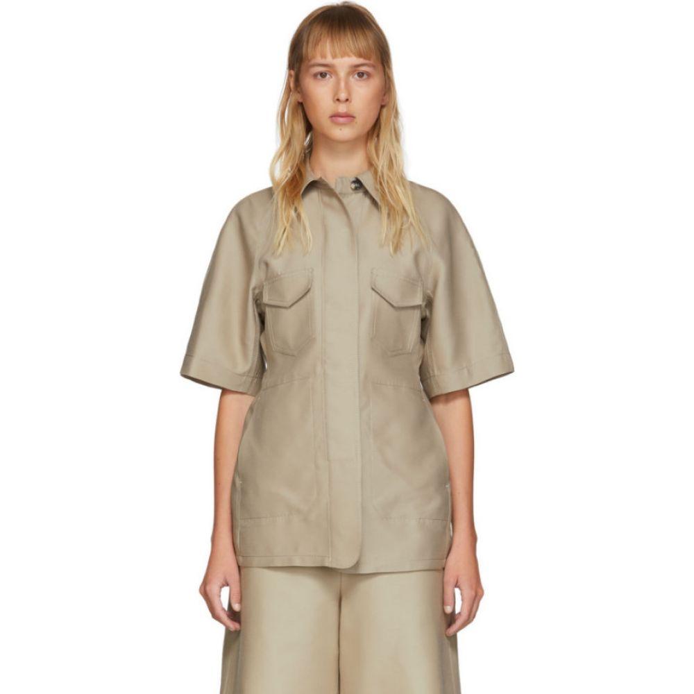 LVIR レディース ブラウス・シャツ トップス【Beige Structured Short Sleeve Shirt】Beige