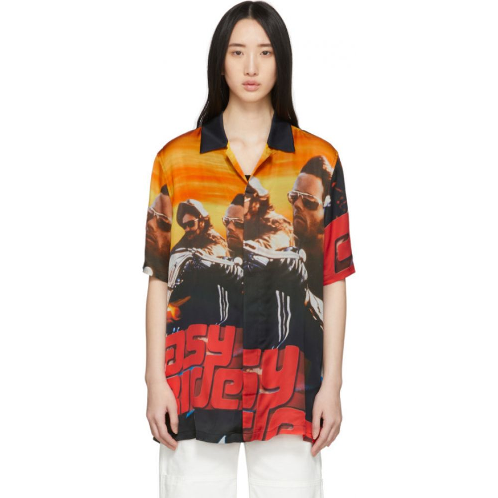 マルセロバーロン Marcelo Burlon County of Milan レディース ブラウス・シャツ トップス【Multicolor Satin 'Easy Rider' Shirt】Black/Red