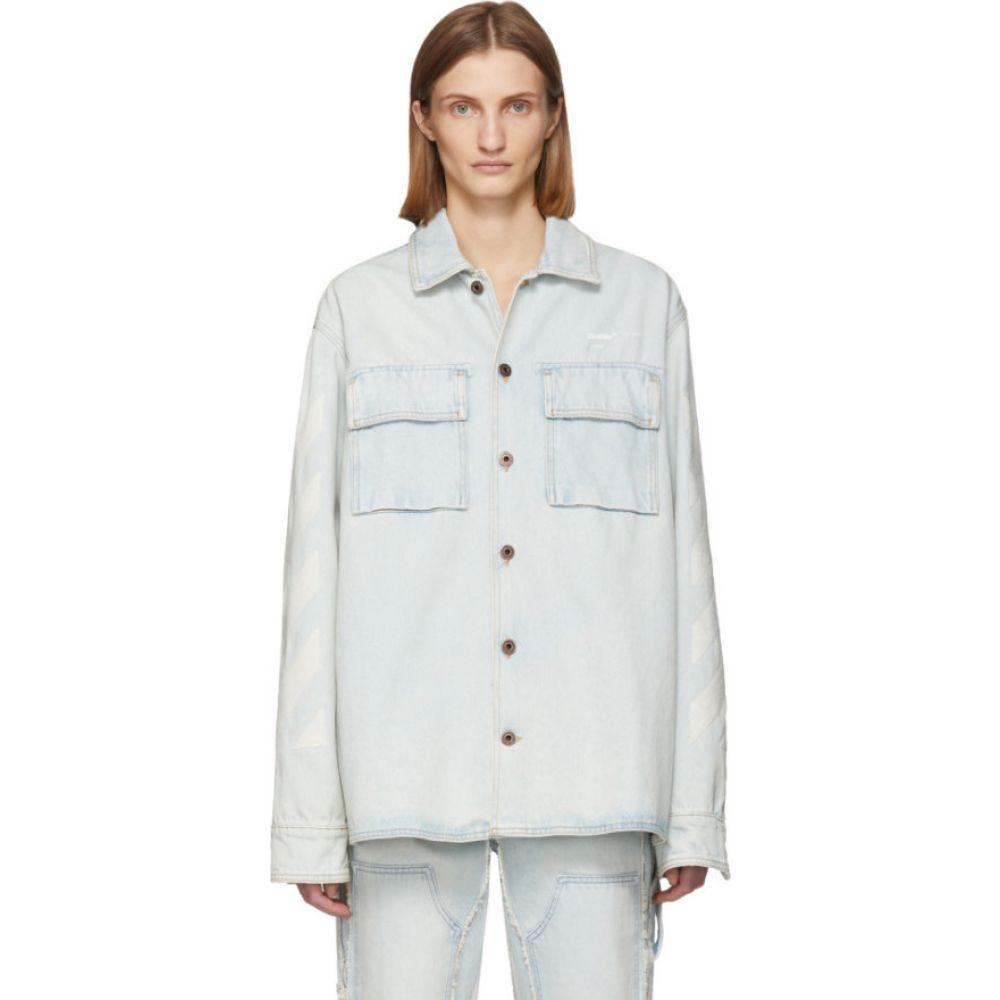 オフホワイト Off-White レディース ブラウス・シャツ デニム トップス【Blue Denim Oversized Bleach Diag Shirt】Bleach white