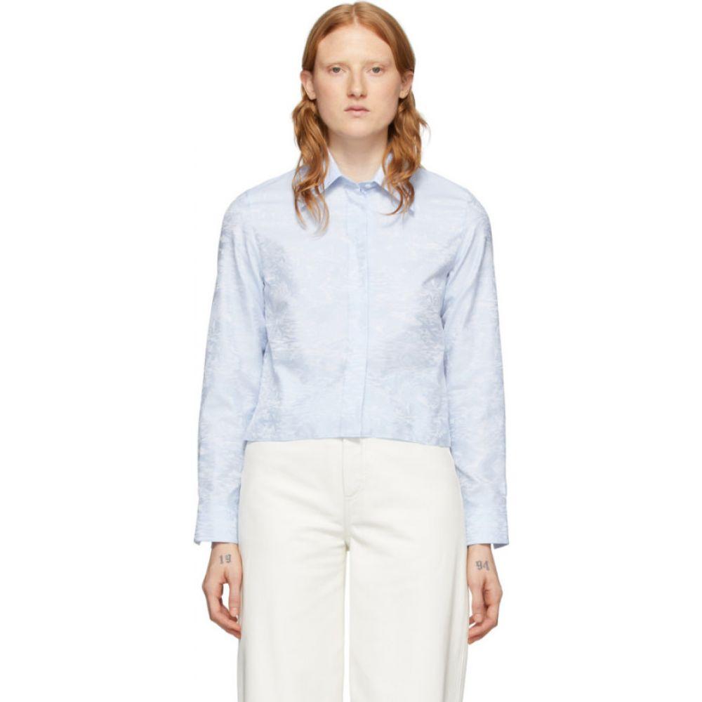 オフホワイト Off-White レディース ベアトップ・チューブトップ・クロップド トップス【Blue Waves Cropped Shirt】Light blue/White