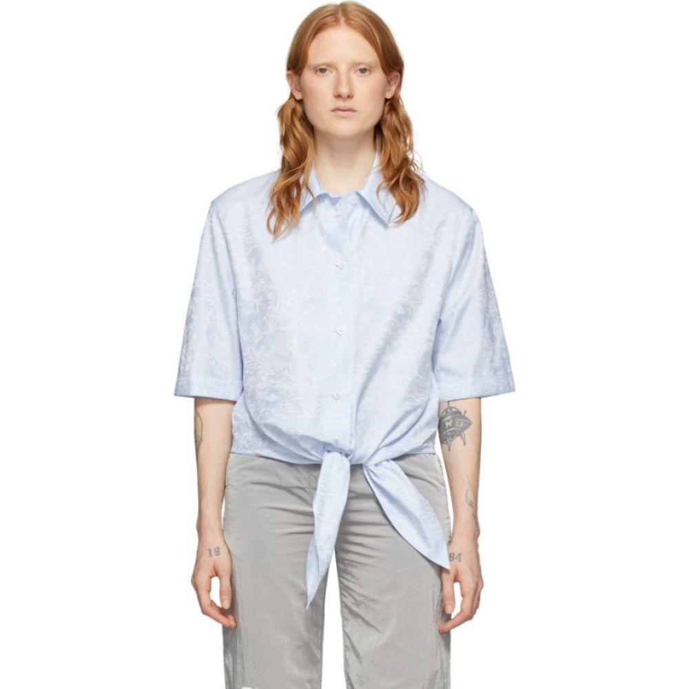 オフホワイト Off-White レディース 野球 トップス【Blue Waves Knot Baseball Shirt】Light blue/White