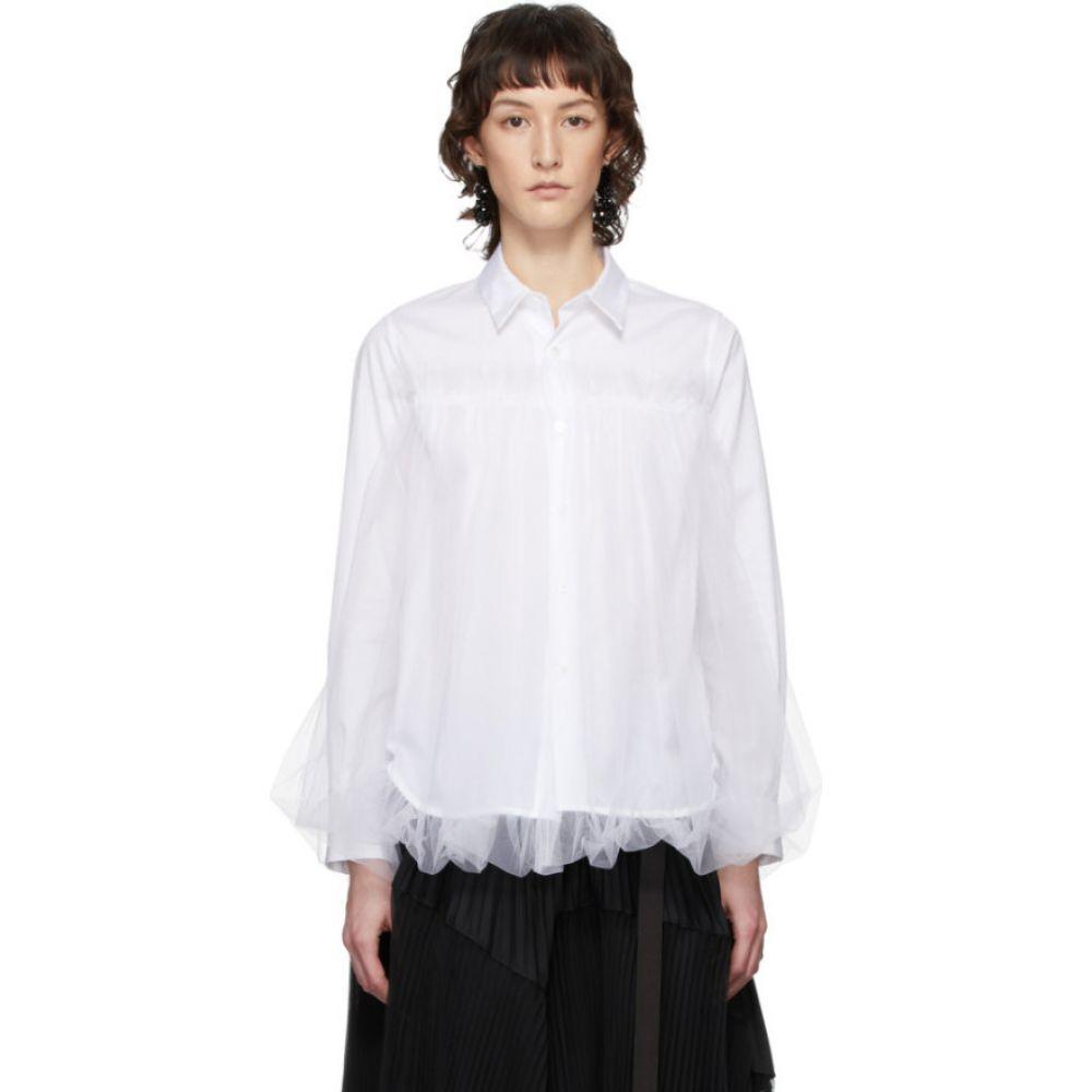 ノワール ケイ ニノミヤ Noir Kei Ninomiya レディース ブラウス・シャツ トップス【White Tulle Overlay Shirt】White