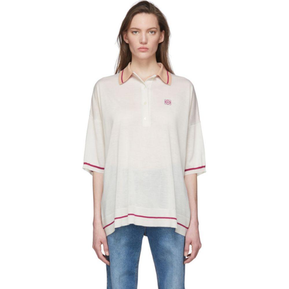 ロエベ Loewe レディース ポロシャツ トップス【Off-White & Pink Cashmere Anagram Polo】Flesh