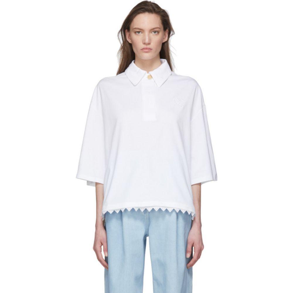 ロエベ Loewe レディース ポロシャツ トップス【White Lace Trim Polo】White