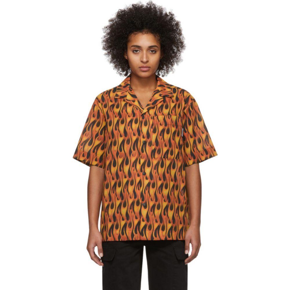 パーム エンジェルス Palm Angels レディース ブラウス・シャツ ボーリングシャツ トップス【Black & Red Flames Bowling Shirt】Black/Multicolor