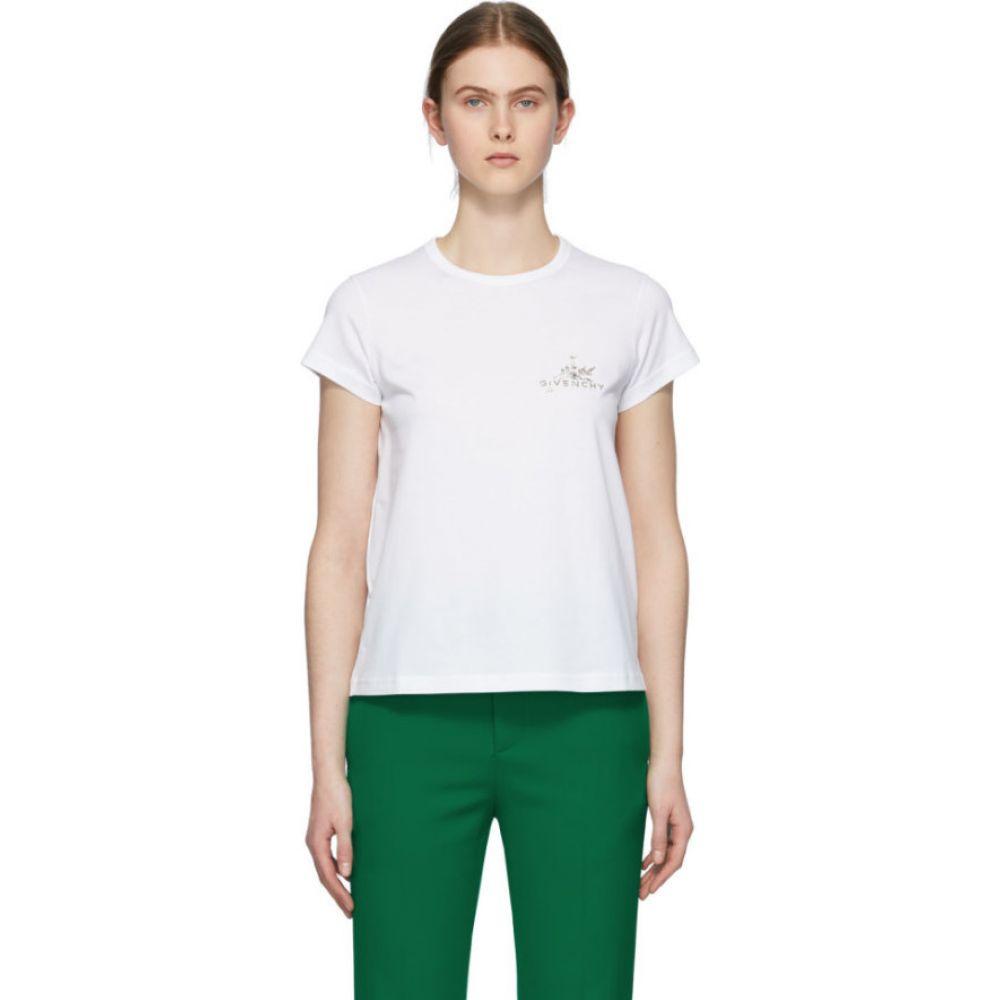 ジバンシー Givenchy レディース Tシャツ トップス【White Crystal Floral Logo T-Shirt】White
