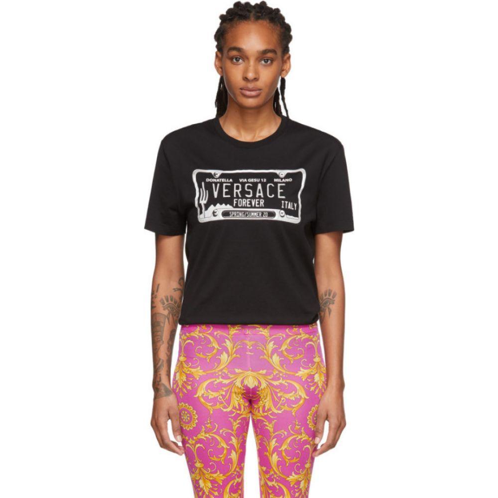 ヴェルサーチ Versace レディース Tシャツ トップス【Black License Plate T-Shirt】Black