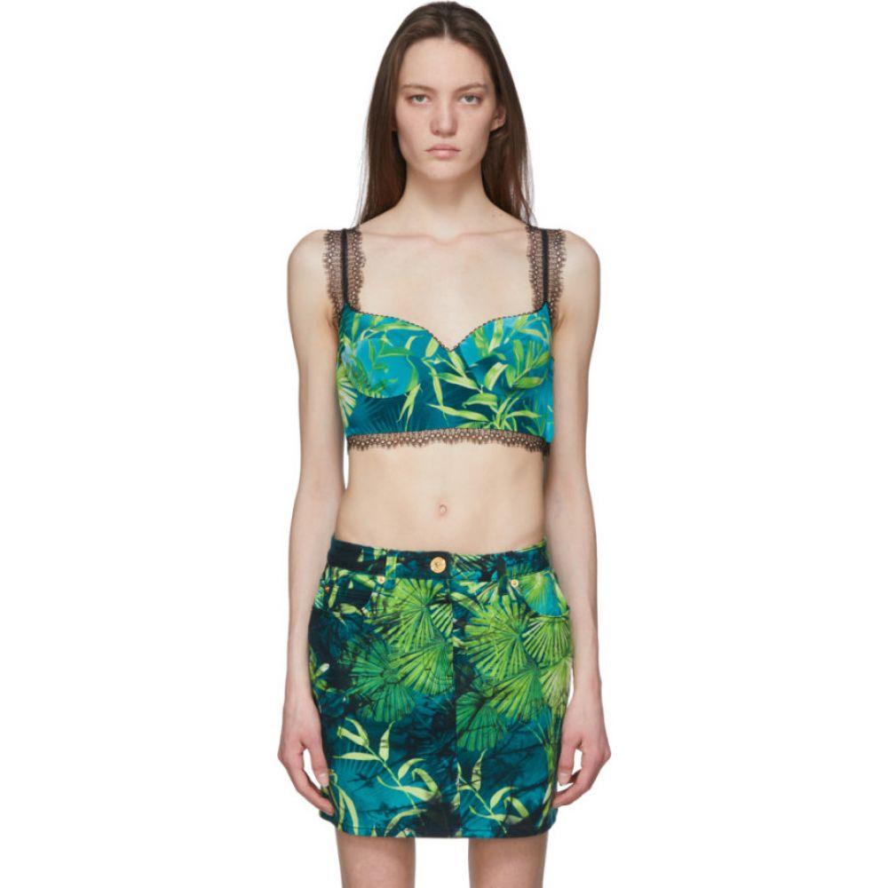 ヴェルサーチ Versace レディース タンクトップ トップス【Green Jungle Print Bralette】Green