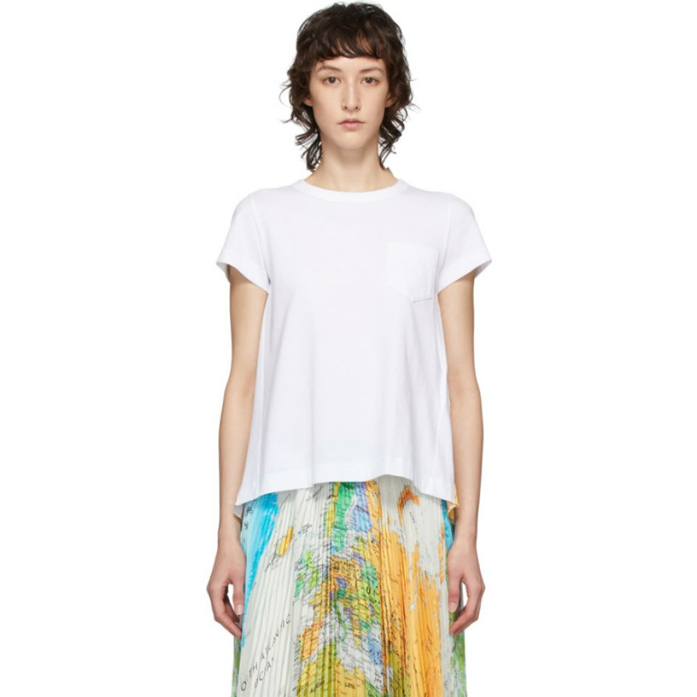 サカイ Sacai レディース Tシャツ トップス【White Pleated Wool Map T-Shirt】White