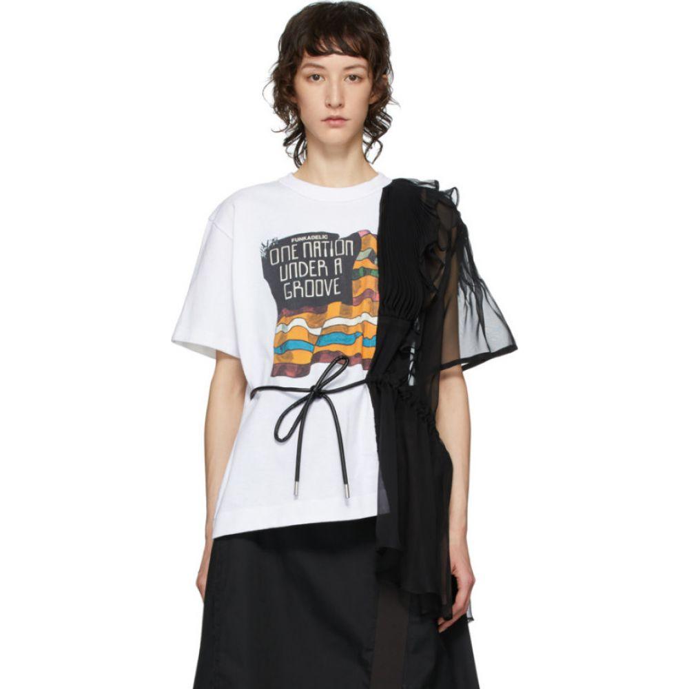 サカイ Sacai レディース Tシャツ トップス【White & Black Funkadelic Belted T-Shirt】White
