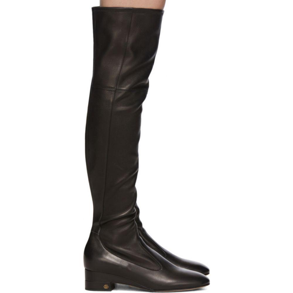 グッチ Gucci レディース ブーツ シューズ・靴【Black Nappa Claus Over-The-Knee Boots】Black