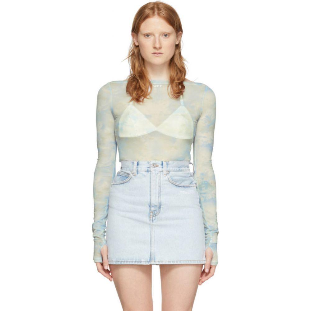 オフホワイト Off-White レディース Tシャツ トップス【Blue Tie-Dye Basic Sheer T-Shirt】Light blue