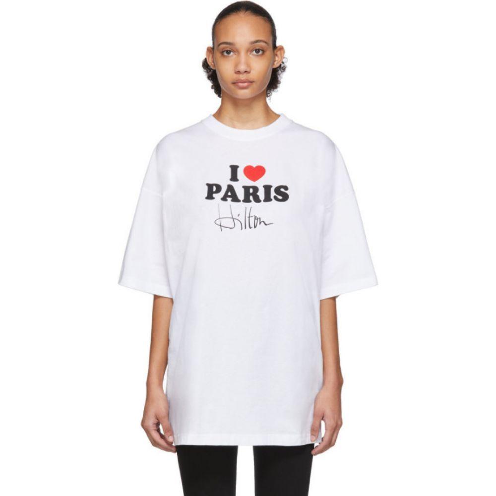 ヴェトモン VETEMENTS レディース Tシャツ トップス【White 'I Love Paris' T-Shirt】White