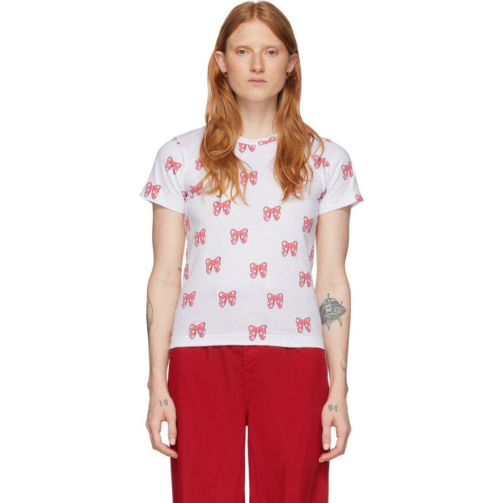 コム デ ギャルソン Comme des Garcons Girl レディース Tシャツ トップス【White Disney Edition All Over Ribbons T-Shirt】White