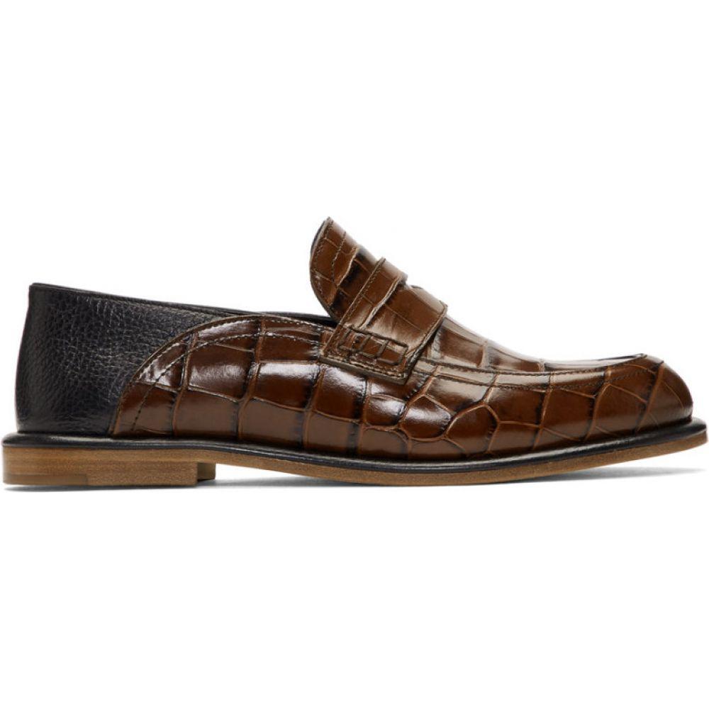 ロエベ Loewe レディース ローファー・オックスフォード シューズ・靴【Brown Croc Slip-On Loafers】Brown